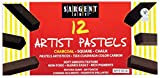 Sargent Art Non-Toxic Square Compressed Charcoal Pastel, 2-3/8 x 3/8 in, Pure Black, Pack of 12