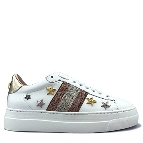 Stokton Sneaker Star 769D weiß, Silber - Weiß Puder Silber - Größe: 38 EU