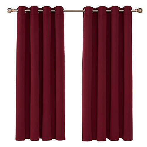 UMI. by Amazon Cortinas Opacas con Aislamiento Térmico para Sala de Estar Oficina Hotel Ventanas con Anillas Juego de 2 Paneles 168 x 138 cm Rojo