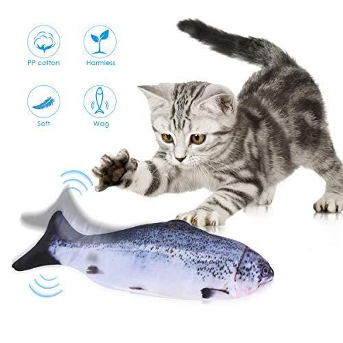 Ponacat Pez Gato Realista Eléctrico Simulación de Felpa Flop Muñeca Eléctrica en Movimiento Mascotas Interactivas Divertidas Masticar Mordedura de Pescado Juguetes para Gato/Gatito/Gatito