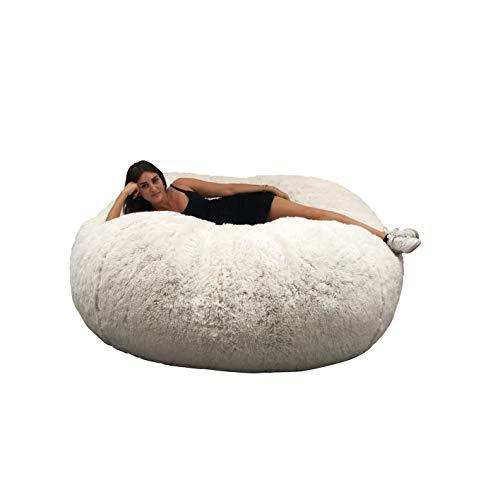 Puf Lerosier1234 gigante Immense 140 cm de diámetro de piel XXL blanco o gris o chocolate con espuma triturada ultra cómoda, sofá, doble fundas, pera, cojín ( Blanco )