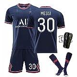 Messi Jersey Kit Camisetas De Fútbol - No.30 Jersey Camisetas Y Pantalones Cortos De Entrenamiento Deportivo para Adultos Y Niños, Regalos para Familiares Y Amigos, Azul,B,20#