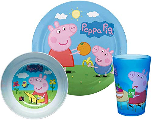 Zak Designs Peppa Pig Kids Dinnerware Set Includes Plate, Bowl, and Tumbler, Made of Durable Material and Perfect for Kids (Peppa & George Pig, 3 Piece Set, BPA-Free)