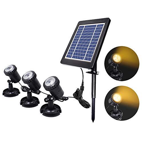 ALLOMN Solar Teich Lichter Außen Tauchscheinwerfer Einstellbare Unterwasserleuchten, Zwei Leuchtmodi, mit Saugnäpfen, IP68 Wasserdicht, 2 in 1 Installation, Auto Ein/Aus (Warmweiß, 3 Lichter)