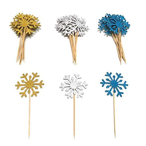 30 adornos decorativos para cupcakes de copo de nieve, 3 colores dorado / azul lago / plateado, adorno para tartas congelado, uso para decorar tartas de cumpleaños