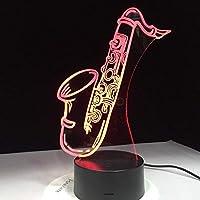 Saxphoneテーブルランプ3D LedナイトライトSaxmusical楽器アンティーク工業用テーブルランプレストランコーヒーショップ装飾ランプ