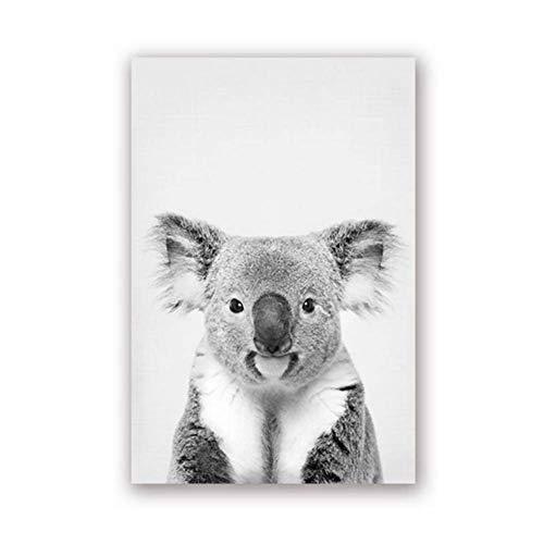 A&D Koala Print Schwarz-Weiß-Bild Leinwand Malerei Wild Life Fotografie Australian Animal Zoo Poster Kinderzimmer Wandkunst Decor-50x70cm Kein Rahmen