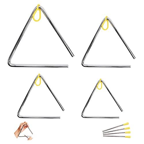 4 Stk Triangel Musikinstrument, Musikinstrumente Kinder mit Schlägel & Gummigriff für Schulkinder & Anfänger Beim Musizieren, 10/12.5/15/17.5 cm