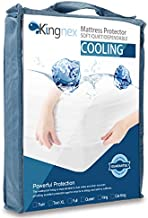 Cooling Split King Mattress Protector - Cool Touch Nylon - 100% Waterproof - Fitted Sheet Style Mattress Cover