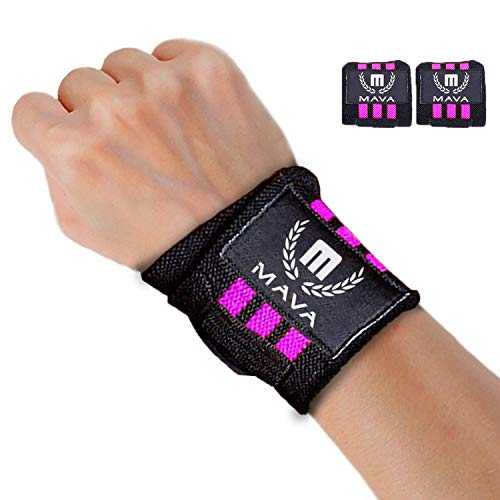 Mava Sports Weight Lifting Wrist Wraps for Women, Double Stitched - Womens Wrist Wraps for Gym, Pink