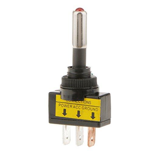IPOTCH Interruptor Switch de Luz LED con 3 PIn SPST On/Off de Encendido y Apagado para Coche Barco de Rojo de 12V 20A