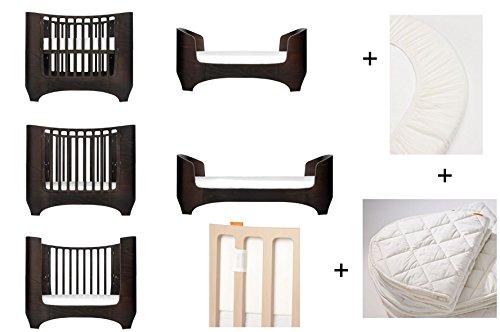 walnuss Leander Baby- und Kinderbett + 1 Set (= 2 Stück) Original-Spannbetttücher in der Babygröße + 1 Matratzenauflage in der Babygröße + Babynestchen in snow weiß