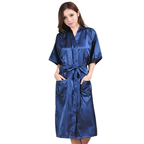 Kristallly Dames Satijn Kimono badjas Lange pyjama Negligee Nachtjapon Stijlvolle Unieke Slaapmode Ondergoed V-hals Met Riem, Dames Badjas Sauna Jas Lange Badjas Zomer