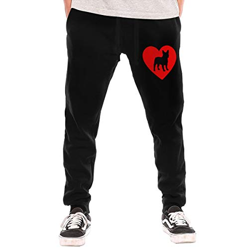 Love French Bulldog Men's Jogger Lounge Sleep Sweatpants Pajamas Black