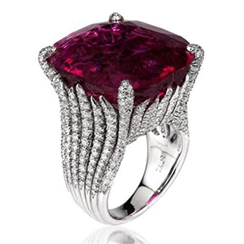 Beiswe Dazzling Women Silver Natural Ruby Ring Retro Crystal 925 Sterling Silver Wedding Band Engagement Antique Ring (Size 9)