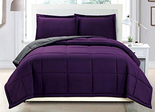 Grand Linen 3 Piece Luxury Dark Purple/Grey Reversible Goose Down Alternative Comforter Set, King with Corner Tab Duvet Insert