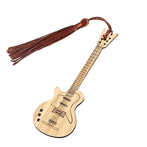 Uayasily Forma Marcador Guitarra Marcador De Libro Decorativos De Bambú Página Marcadores con La Borla De Libro Arkers Surtido Libro Marcadores Set para Estudiantes