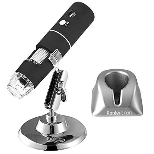 Koolertron WiFi Digital Mikroskop,1080P HD 2MP Microscope 1000X Vergrößerung Zoom Mini Kamera Endoskop mit 8 LEDs für iPhone, iPad, Android-Telefon, Windows, Mac