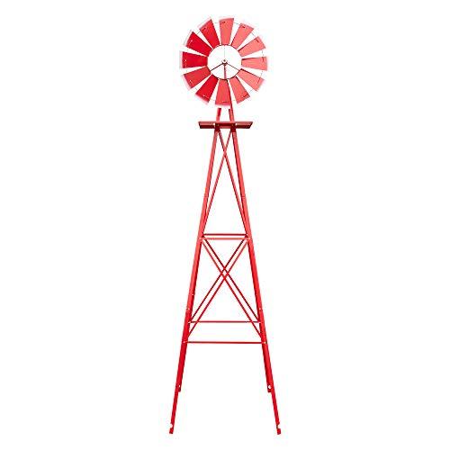 VINGLI 8FT Metal Windmill Ornamental Spinner Backyard Garden Decoration Weather Vane, Heavy Duty Wind Mill w/ 4 Legs Design, Red