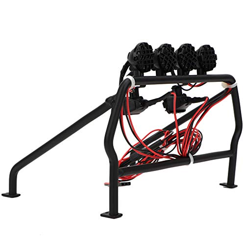 RC Car Roll Cage, Metal Roll Cage 6 LED Light Fit SCX10 1/10 Axial 4WD Roll Cage, for RC Car Beginner Truck Outdoor