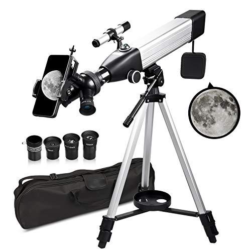QUNSE Teleskop Astronomie 60/500 20x-167x Fernrohr Teleskop für Kinder Einsteiger Amateur-Astronomen mit Aluminium Stativ Smartphone Adapter Suchfernrohr und Kompass (B)