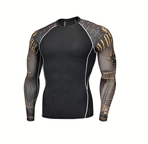 Ropa Deportiva, Ropa de Entrenamiento for Hombre, Camiseta de Secado rápido for maratón, Medias de compresión de Entrenamiento con Estampado elástico (Color : H, Size : M)