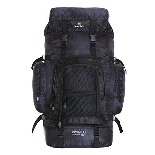 Karabar Extra Large Travel Hiking Backpack Rucksack Bag XL 80 litres 77 cm 1.3 kg, Makalu Black