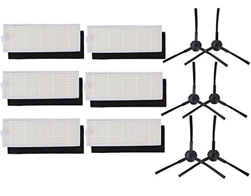 Sweet D Kit de recambios para Robot Aspirador de ILIFE A6 A4 A4s - 6 Filtros Hepa, 6 Filtros Esponja, 6 Cepillos Laterales (Izquierdo + Derecho), Accesorios, 18 pzs
