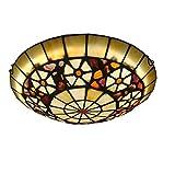 Yjmgrowing Lámparas de Techo Estilo Tiffany de LED para Habitaciones, Luces empotradas de Techo de Montaje Vintage en vidrieras Hechas a Mano Pasillo Accesorio de iluminación, luz cálida LED,30cm
