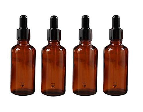 4 botellas de aceite esencial de 50 ml de 1.7 onzas vacías, rellenables, de vidrio ámbar, botella con cuentagotas de cristal