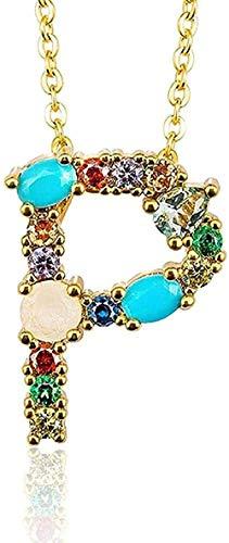 Collana P - Ciondolo per collana con lettera iniziale dell'alfabeto fai da te da donna squisita con nome Accessori per gioielli creativi Regalo per la fidanzata Regalo