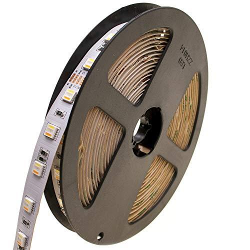 DEMODU® PREMIUM LED-Streifen RGB + CCT 24V, 5m, kürzbar & dimmbar l Selbstklebendes LED-Lichtband mit farbigem oder weißem Licht (2400k bis 6500k) I LED-Band dimmbar mit 60 SMD/m für Innen (IP20)