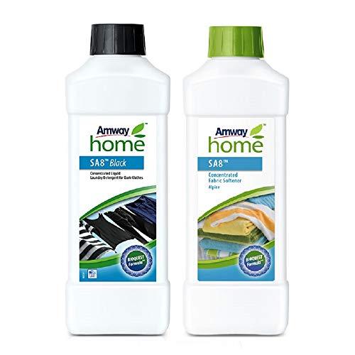 Pack Detergente Líquido Concentrado Ropa Oscura SA8 Black y Suavizante de Tejidos Concentrado SA-Alpino