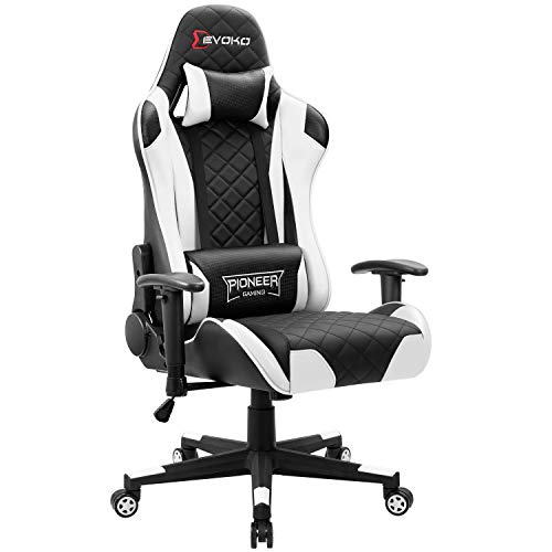 Devoko Gaming Chair Racing Style High Back Computer Chair with Adjustable Armrests Ergonomic Office Chair Executive Swivel Task Chair with Headrest and Lumbar Support (White)