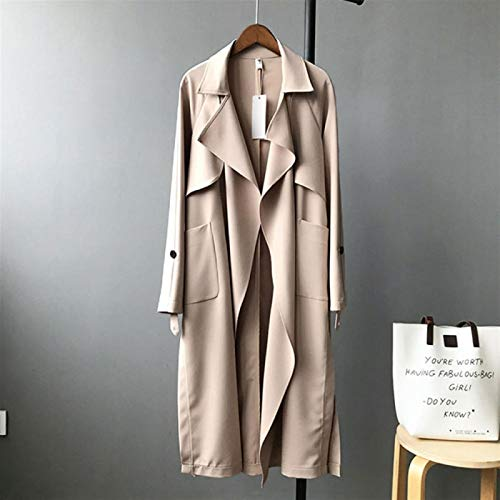 SYXYSM TRENCH COAT LONG WOMEN BELT TRENCHES KNEE LENGTH FASHION ASYMMETRIC HIGH STREET COATS SLIM WAISTED CASUAL TRENCHES MIDI COAT (COLOR : B SIZE : SMALL)