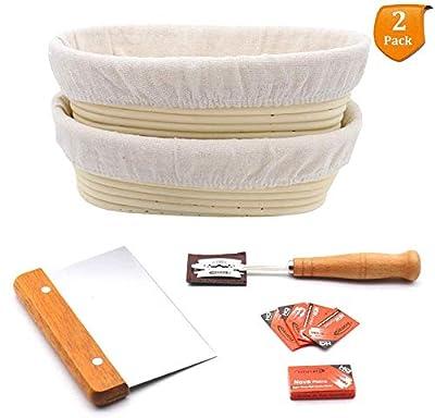 Sourdough Bread Proofing Basket Baguette Oval Brotform Banneton Baking Set with Linen Liner, Metal Dough Scraper, Scoring Lame & Case, Extra Blades, Rising Dough Gifts for Artisan Bread Making Starter