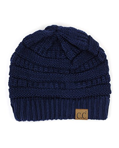 C.C Trendy Warm Chunky Soft Stretch Cable Knit Beanie Skully (NV)