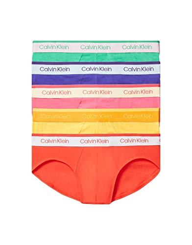 Calvin Klein Men's Cotton Stretch Hip Brief (Pride), Fury/Crissie Pink/Summer Shine/Envy/Powerful, L