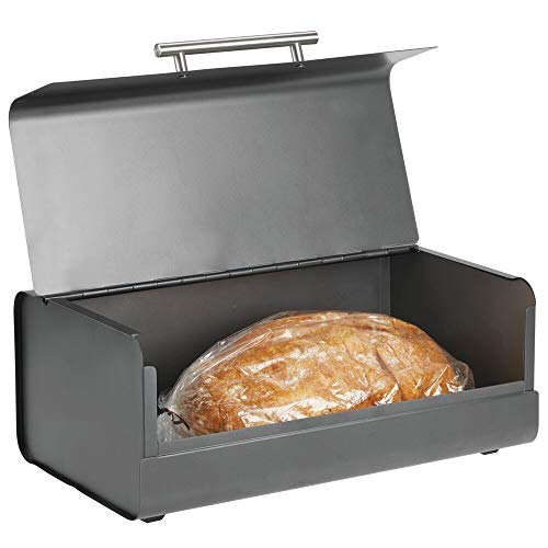 mDesign Panera de metal – Elegante contenedor para pan con estilo vintage – Caja de almacenaje con tapa para guardar productos horneados y mucho más – gris antracita