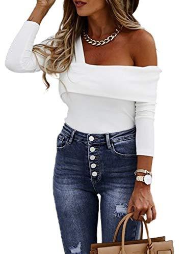 CORAFRITZ Camiseta sexy de manga larga con cuello en V y hombros descubiertos, para mujer, de color sólido, para mujer, de ajuste delgado, de talla grande, sudadera con túnica