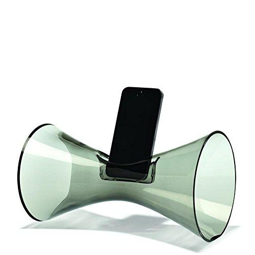 Holmegaard Urania amplificateur sonore, Rauchglas, H: 14.5 cm, L: 24.5 cm