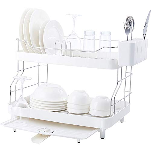 Desagüe De La Cocina Rack For El Hogar Copas Y Vasos De Plástico Estante De 2 Niveles Encimera Secado Panel Blanca (Size : S)