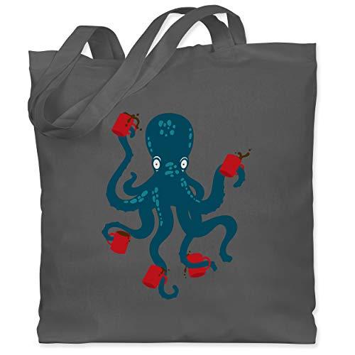 Shirtracer Sonstige Tiere - Kaffee Octopus - Unisize - Dunkelgrau - Geschenk - WM101 - Stoffbeutel aus Baumwolle Jutebeutel lange Henkel