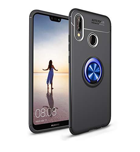 MIFanX Funda Huawei P Smart Plus/Nova 3i, Suave TPU Cover con 360°Anillo Giratorio Soporte (para Automóvil Magnético Soporte) para Huawei P Smart Plus/Nova 3i(K Azul)
