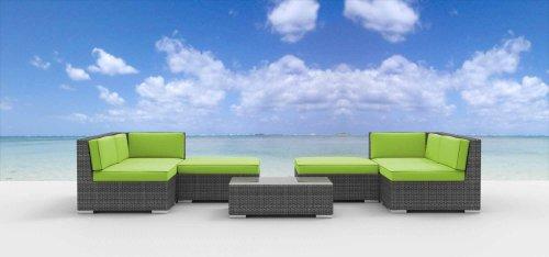 Hot Sale Urban Furnishing - HAWAII 7pc Modern Outdoor Backyard Wicker Rattan Patio Furniture Sofa Sectional Couch Set - Lime Green