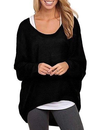 CRAVOG Neu Damen Frauen lose Langarm-T-Shirt T-Shirt lässig Baggy Tops Bluse Pullover
