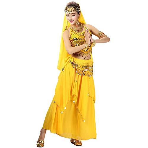 Xinvivion 4 Piezas Mujer Señoras Danza del Vientre Profesional Conjunto de Vestuario Danza India Rendimiento Outfit Traje (Amarillo,Ajuste 35-45 KG)