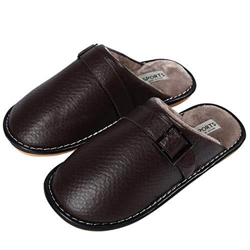 FKYGDQ Zapatillas For Hombre Zapatillas De Algodón For Hombres Otoño Inicio Parejas De Deslizamiento Cubierta Impermeable De Las Mujeres Zapatillas De Algodón De Las Mujeres