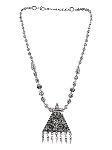 Efulgenz Boho Vintage Antique Ethnic Gypsy Tribal Indian Oxidized Silver Beaded Statement Tassel Pendant Necklace Jewelry