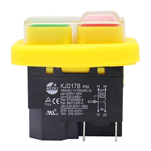 KEDU KJD17B - Interruptor de botón electromagnético impermeable 220-240 V 4 pines para herramientas eléctricas, color amarillo